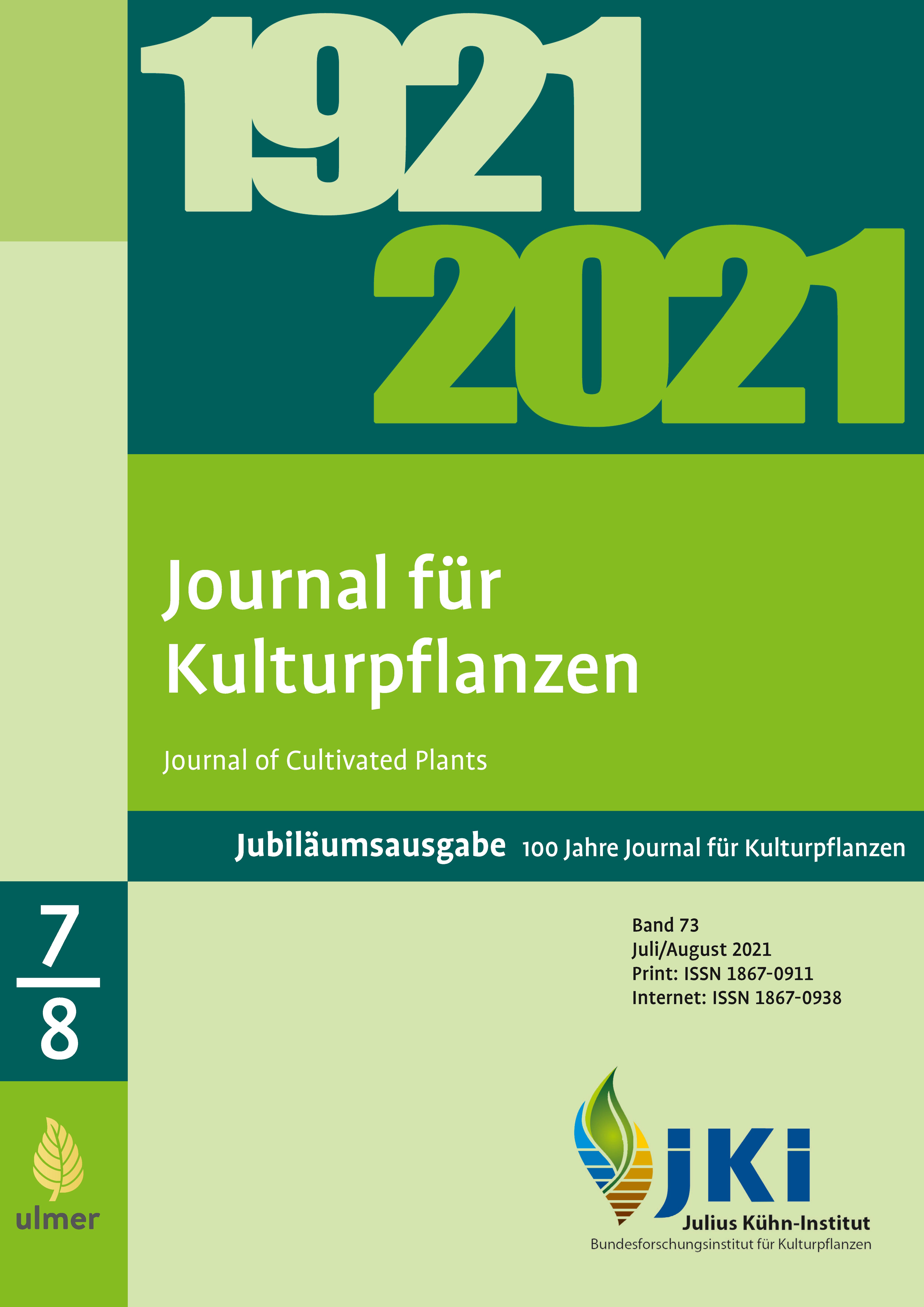 Ansehen Bd. 73 Nr. 7-8 (2021): Jubiläumsausgabe 100 Jahre Journal für Kulturpflanzen